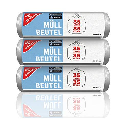 Gut & Günstig Müllbeutel 35L (35 Stück) - 3er Pack - Reißfest & Flüssigkeitsdicht - (3 x 35 Stück)