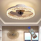 Ventilatore da Soffitto con Lampada – 30W Lampadario Ventilatore Ø50 cm 5 Pale con Telecomando, Super Silenzioso, 3 Temperatura di Colore e 6 Velocità del Vento, Timer e Funzione Inversione