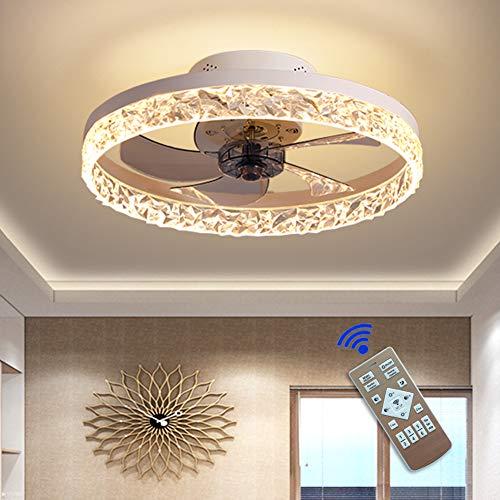 LHXY Ventilador de Techo con LED Luz - Super Silencioso de 30W, 3 Temperaturas de Colores y 6 Velocidades del Viento Ajustables, Temporizador y Modo Inverso, 50cm de Diámetro y 5 Aspas