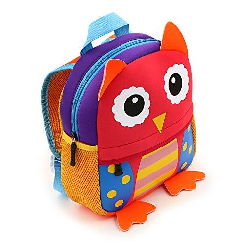 IGNPION Rucksack für Kinder und Kleinkinder, süßes Zoo-Tier in 3D, Cartoon, Rucksack für Vorschule und Kindergarten, Schulranzen, (Eule)