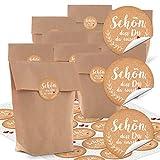 10Kleine marrón papel kraft Schön dass du da warst bolsas de papel natural papel de estraza 14x 22x 5,6cm + 24pegatinas Beige Blanco Corazón Rojo Vintage del paquete regalo bio para llenar