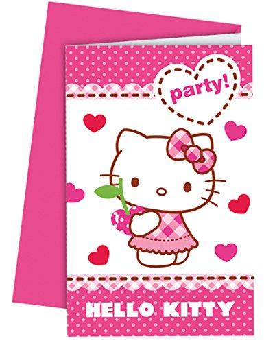 6 Cartes d'invitation avec enveloppes Hello Kitty - taille - Taille Unique - 235122