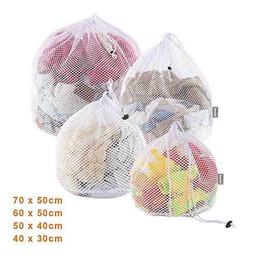 Yoassi 4 Stück Waeschesack Waschmaschine mit Kordelstopper Wäschebeutel Wäschesack für Waschmaschine, Unterwäsche, Babywäsche, Socken, Kaschmir - #1