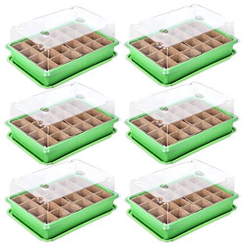 Schramm® 6 Stück Anzucht Set Gewächshaus Anzucht Schale Töpfe Zimmergewächshaus 27 x 19 x 11 cm für 144 Anzuchttöpfe Anzuchtset Mini-Gewächshaus