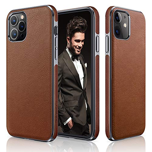 LOHASIC Designed for iPhone 12 Case for iPhone 12 Pro Case, Luxury Leather Slim Business Classic Non Slip Soft Grip Shockproof Protective Cover Compatible with iPhone 12/12 Pro 5G 6.1 inch - Brown