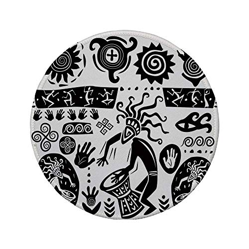 Rutschfreies Gummi-Rundmaus-Pad primitive prähistorische Höhlenzeichnung mit symbolischen Stammesobjekten Schamanen-Totem-Thema Schwarz-Weiß 7.9