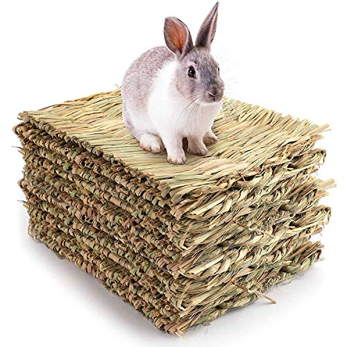 Pineapplen 10 Pack Woven Bed Mat for Rabbits-Grass Mat & Bunny Bedding Nest-Natural Chew Toy Bed for Guinea Pig Chinchilla Squirrel