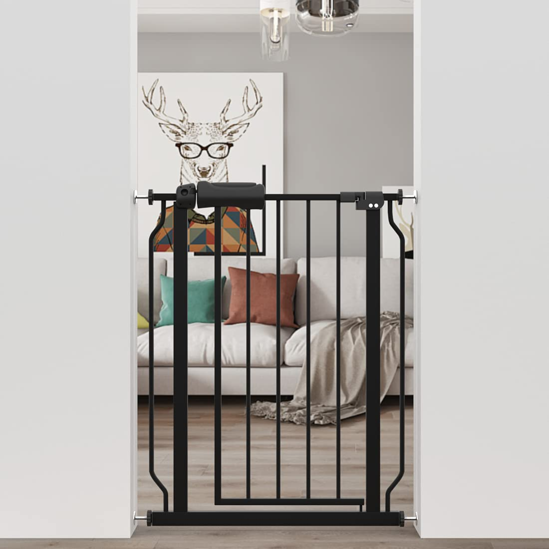 WAOWAO Baby Gate Narrow Pressure Mounted Walk Through Swing Auto Close Safety Black Metal Dog Pet Puppy Cat for Stairs,Doorways,Kitchen 24.02-29.13 inch (24.02-29.13/61-74cm)