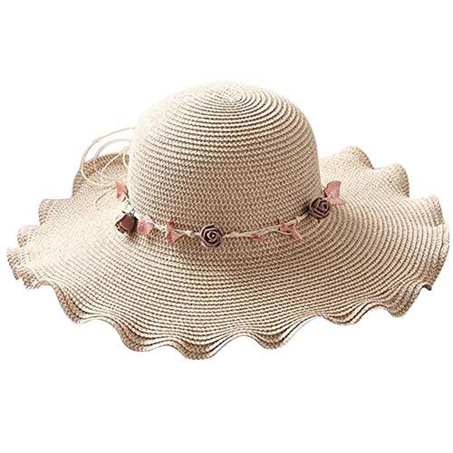 Señoras De La Manera Sombrero para Clásico El Sol Sombrero De Verano De Forma De Onda De Protección UV Sombreros De Paja Sombrero De Playa Sombrero De ala Ancha Sombreros Estilo Antiguo Básico
