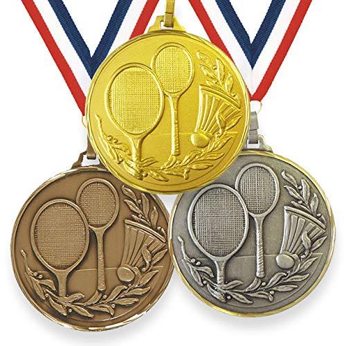 Trophy Monster Medalla de bádminton de alta definición de 52 mm con cinta de latón | oro, plata o bronce