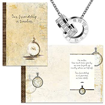 Smiling Wisdom - Timeless Friend Special Friendship Greeting Card With Time and CZ Intertwined Double Circle Ring Necklace Gift Set - Woman Best BFF Bestie - Silver Color - Stainless Steel