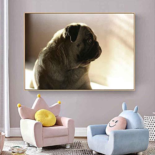 YuanMinglu Niedlicher Mops Hund Tier —Moderne Abstrakte Tierwand—Lebendiges Kinderzimmer Moderne Wohnkultur—Wandkunst Im Graffiti-Stil—Rahmenlose Malerei—60X80Cm