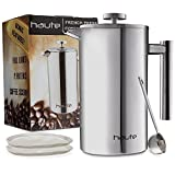 Haute 1L Stainless Steel French Press Coffee Maker with FILL LINES, 2 Extra Filters and Coffee Scoop (Stainless Steel)