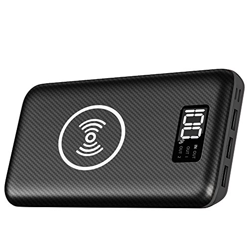 Portable Charger Power Bank 24000mAh - Wireless Charger with LED Digital Display, 3 Outputs & Dual Inputs External Battery Pack Compatible Cellphone,Android Phones,Tablet and More