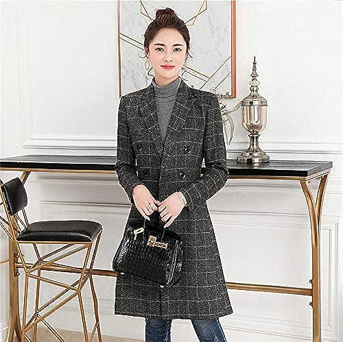 HJHKJHIU Ladies' Woolen Coat Double Breasted Lattices Suit Collar Coat de plein air manche longued Thermal Windbreaker