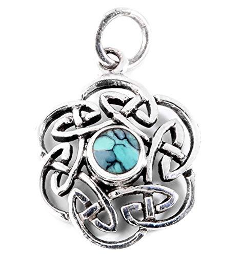 Windalf Britischer Celtic Anhänger NUADA 2.5 cm Keltischer Knoten Türkis Glücksamulett Bohemian Flower Blumenschmuck 925 Sterlingsilber