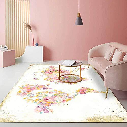 La alfombras aspiradora Alfombra Graffiti Minimalista Blanco Amarillo Rosa Hermoso diseño de Estampado Floral Decoracion Gaming Sofa Salon 80*160cm