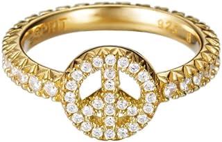 خاتم ذهبي بريليانس بشعار السلام للنساء من اسبريت من الفضة السترلينية 925/ 1000 3.5 غرام مع احجار زركونيا مكعبة بيضاء