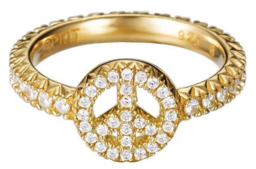 Esprit - Brilliance Peace Gold - Bague - Femme - Argent 925/1000 3.5 gr - Cristal - Oxyde de Zirconium Blanc