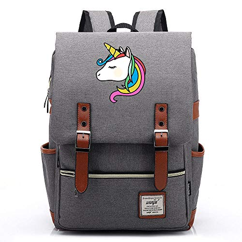 QAQB Fashion CasualCartoon Candy Rainbow Unicorn Young Student Schoolbag Men and Women Casual Belt Buckle Backpack -03_14 Inch