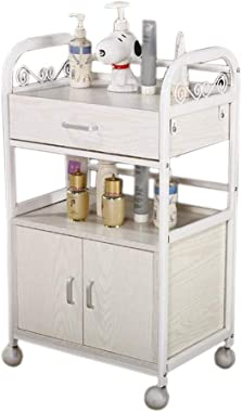 Kitchen Storage Trolley Cart with Doors and Drawer, All Purpose Shelving, Kitchen Cabinet, Storage Cabinet On Wheels TIDLT (Color : White, Size : 48x35x85cm)