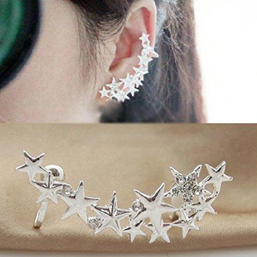 YouN 1 paar mode zilveren ster oor bot clip op oor manchet oorbellen geen Pierce