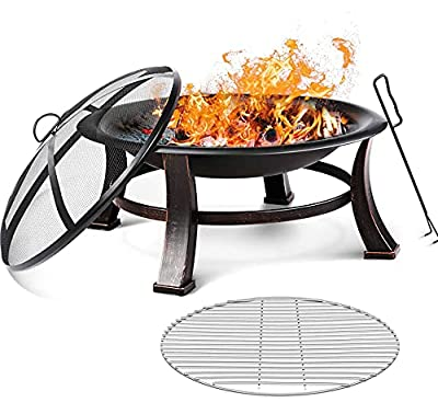 FIXKIT 30'' Fire Bowl Outdoor Patio Fire Pit with Mesh Spark Screen Cover, BBQ Grill, Log Grate, Firepit Poker, Waterproof Cover, Wood Burning Stove for Backyard, Camping, Bonfire, Patio, Garden from FIXKIT