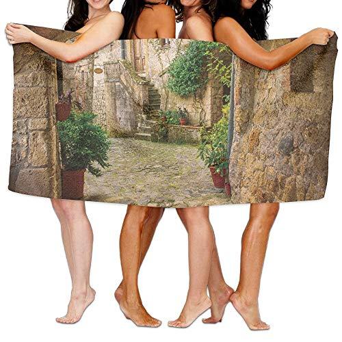 Duanrest Landschap Van Een andere Deur Antieke Steen Dorp Toscane Italiaanse Vallei Zachte Absorberende Strandhanddoek Zwembad Handdoek 130x80cm
