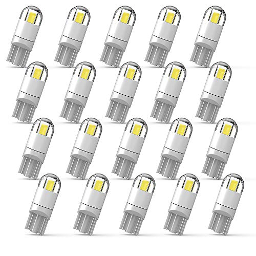 WEIMELTOY 194 LED Car Bulb 3030 Chipset 2SMD T10 194 168 W5W LED Wedge Light Bulb 1.5W 12V License Plate Light Courtesy Step Light Trunk Lamp Clearance Lights (20pcs/pack)