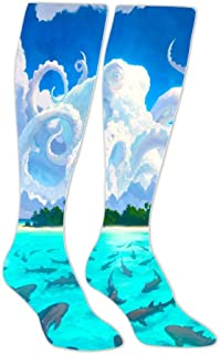 Octopus White Cloud Shape Men's High-Bar Exercise Pressure Muscle Compression Socks Perfect for Use By Sportsman