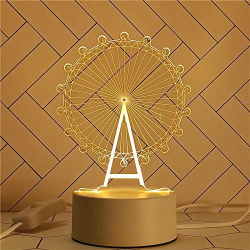 Lámpara de ilusión 3d lámpara de mesa pequeña luz de noche de acrílico regalo de cumpleaños para niños-Luz cálida monocromática USB_Nueva rueda de la fortuna