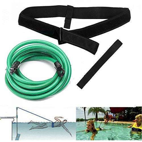 FOOING Swim Training Belts, Swim Training Leash,Swim Tether Stationary Swimming, Swim Harness Static Swimming Belt, Swim Bungee Cords Resistance Bands (Green, 4)