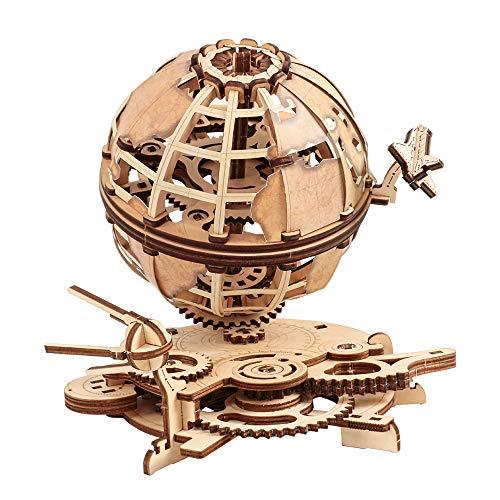 Modelo Mecánico De Globo 3D - Maqueta De Globo Giratorio con Lanzadera Y Sputnik De Madera - Maquetas De Madera para Adultos - Maravilloso Regalo Y Decoración del Hogar