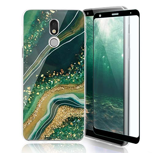 TJS Phone Case Compatible with LG K40/K12 Plus/X4/Solo LTE/Harmony 3/Xpression Plus 2, [Full Coverage Tempered Glass Screen Protector] TPU Matte Color Marble Transparent Clear Soft Skin (Gold/Green)