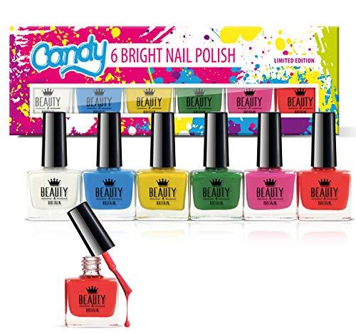 6 x Lusso Smalto per unghie 6 diversi colori luminosi Candy Pacco regalo Alta qualità