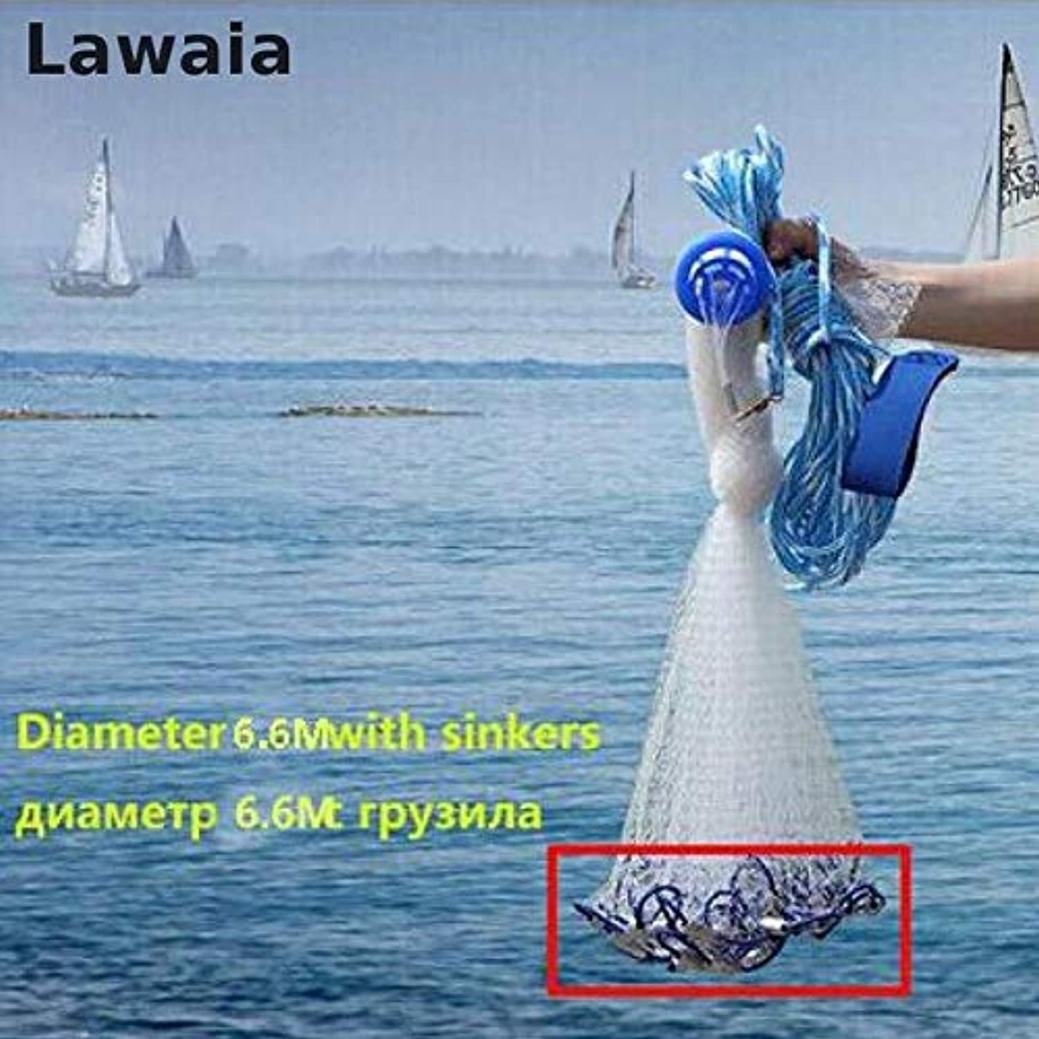 Lawaia Black cast net American Style cast net Hand Throw Fishing net with Sinker Outdoor Sport Fishing Network Tool 660 Fishing net, Russian Federation