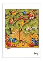 ART UNLIMITED 【クリスマス】 ポストカード (猫×オーナメント) C6101
