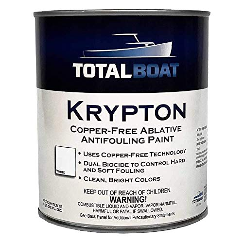 TotalBoat Krypton Copper Free Antifouling – Marine Ablative Boat Bottom Paint   For Fiberglass, Wood, Aluminum & Steel Boats   Ideal for Outdrives & Trim Tabs (White, Gallon)