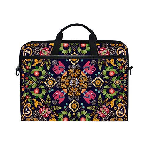 EZIOLY Square Paisley Floral Laptop Shoulder Messenger Bag Case Sleeve for 13 Inch to 14 inch Laptop