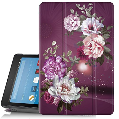 Hocase Slim Case for All-New Amazon Fire HD 8 Tablet (7th/8th Generation, 2017/2018 Release), PU Leather Hard Shell Cover with Auto Wake/Sleep and Stand Feature - Royal Purple/White Flowers