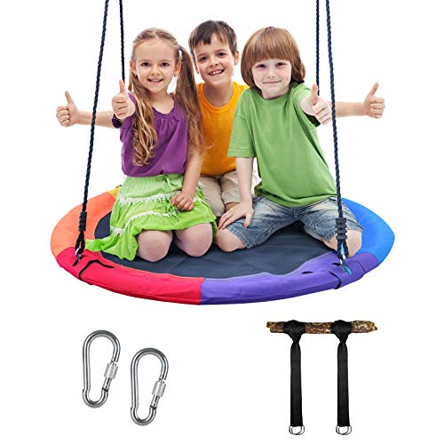 FIRSTGO-TECH 40 Inch Flying Saucer Tree Swing, Tree Swings for Kids Outdoor Indoor Round - Steel Frame & Adjustable Rope & Easy Install, Great for Backyard, Playground and Park