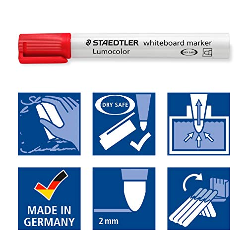 STAEDTLER 351 WP4 Lumocolour Whiteboard Marker with Bullet Tip, Multicolour, Pack of 4