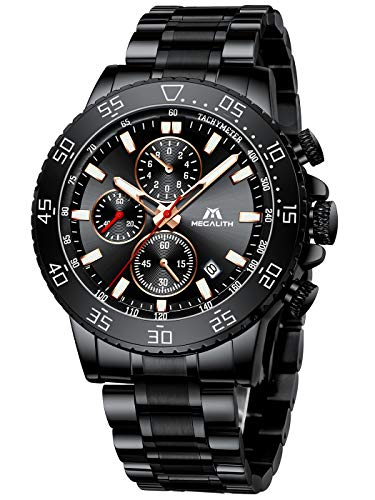 MEGALITH Reloj Hombre Acero Inoxidable Cronografo Relojes Hombre Impermeable Reloj de Pulsera Elegante Analogico Cuarzo Luminosa Fecha