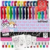 int!rend Set de 33 bolígrafos de gel   30 boligrafos de tinta gel - 5 de pastel, 7 purpurina, 4 neón y 8 metálicos + 3 plantillas   Libros de colorear, pinturas, mandala, álbum de fotos