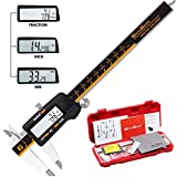 GlowGeek CD-6-150 Quality Electronic Digital Vernier Caliper Inch/Metric/Fractions Conversion 0-6Inch/150mm Stainless Steel Body