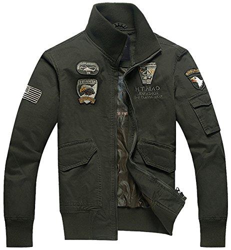 Trensom Men's Outdoors Lightweight Windbreaker Cotton Bomber Jacket Casual Zipper Coat Black X-Small