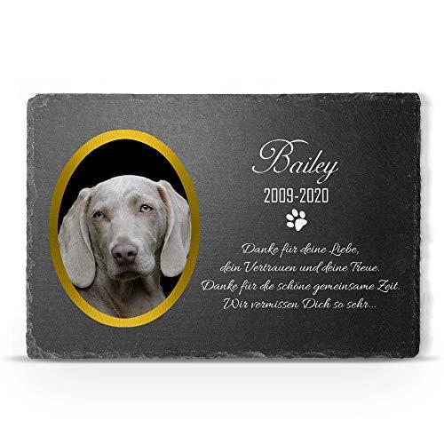 TULLUN Individueller Personalisiert Tiergrabstein Schiefer Gedenkstein für Hund, Katze und andere Haustiere - Größe 20 x 30 cm - Personalisiert Text und Foto