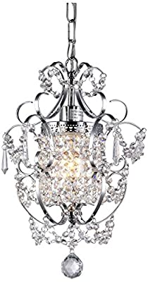 "Whse of Tiffany RL4025 Jess Crystal Chandelier, 1 11"" x 15"", Chrome, 11"""
