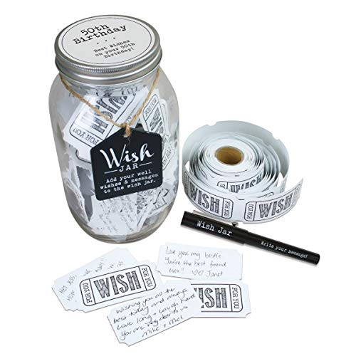 Top Shelf 50th Birthday Wish Jar ; Unique and Thoughtful Gift Ideas for Friends and Family ; Memorable Gift for Mom, Dad, Grandma, and Grandpa ; Kit Comes with 100 Tickets and Decorative Lid