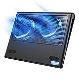 TECKNET Refroidisseurs pour Ordinateur Portable et Notebook, avec 2 Ports USB, 2 Ventilateurs Silencieux, Adapté pour 9-16 Pouces